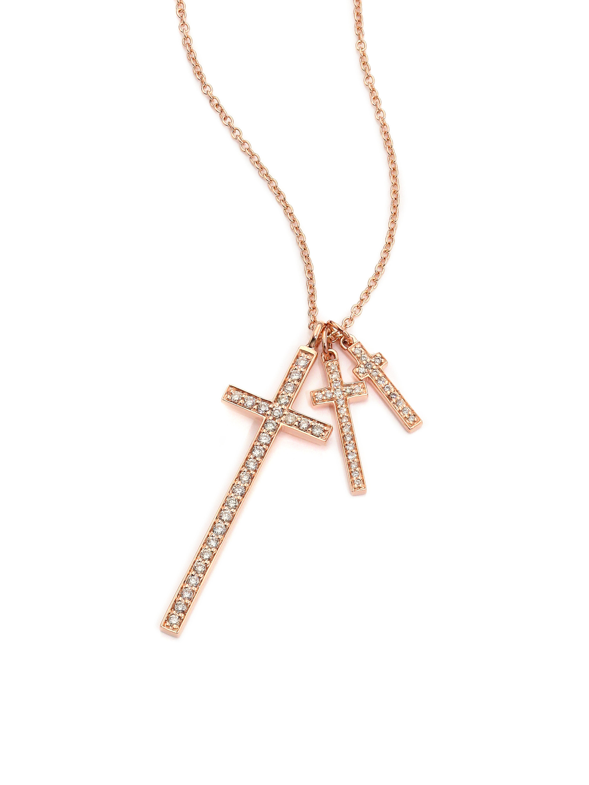 Lj cross Champagne Diamond & 14k Rose Gold Cross Pendant Necklace