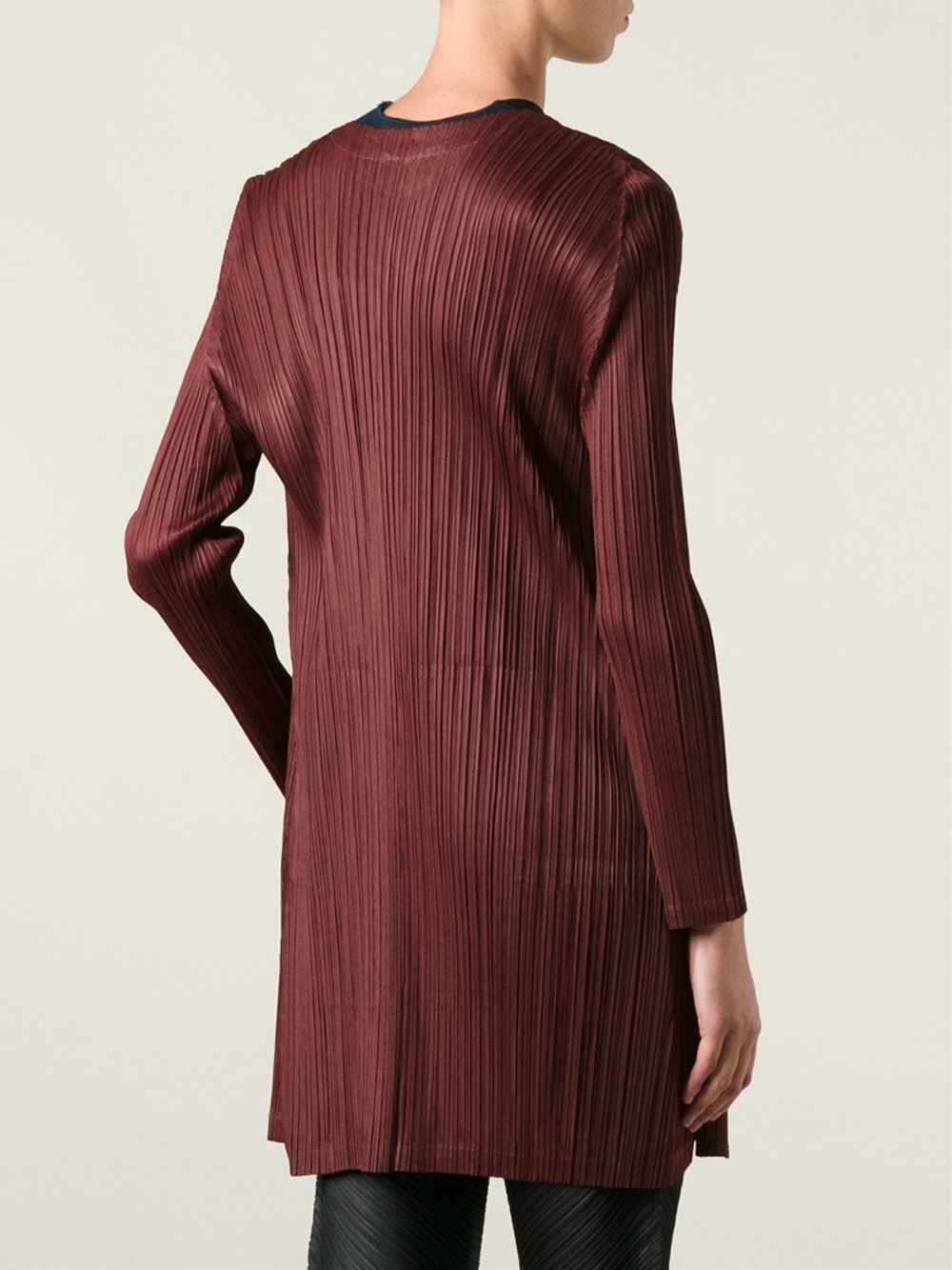 Pleats please issey miyake Brand Signature Pleats Long Cardigan in ...
