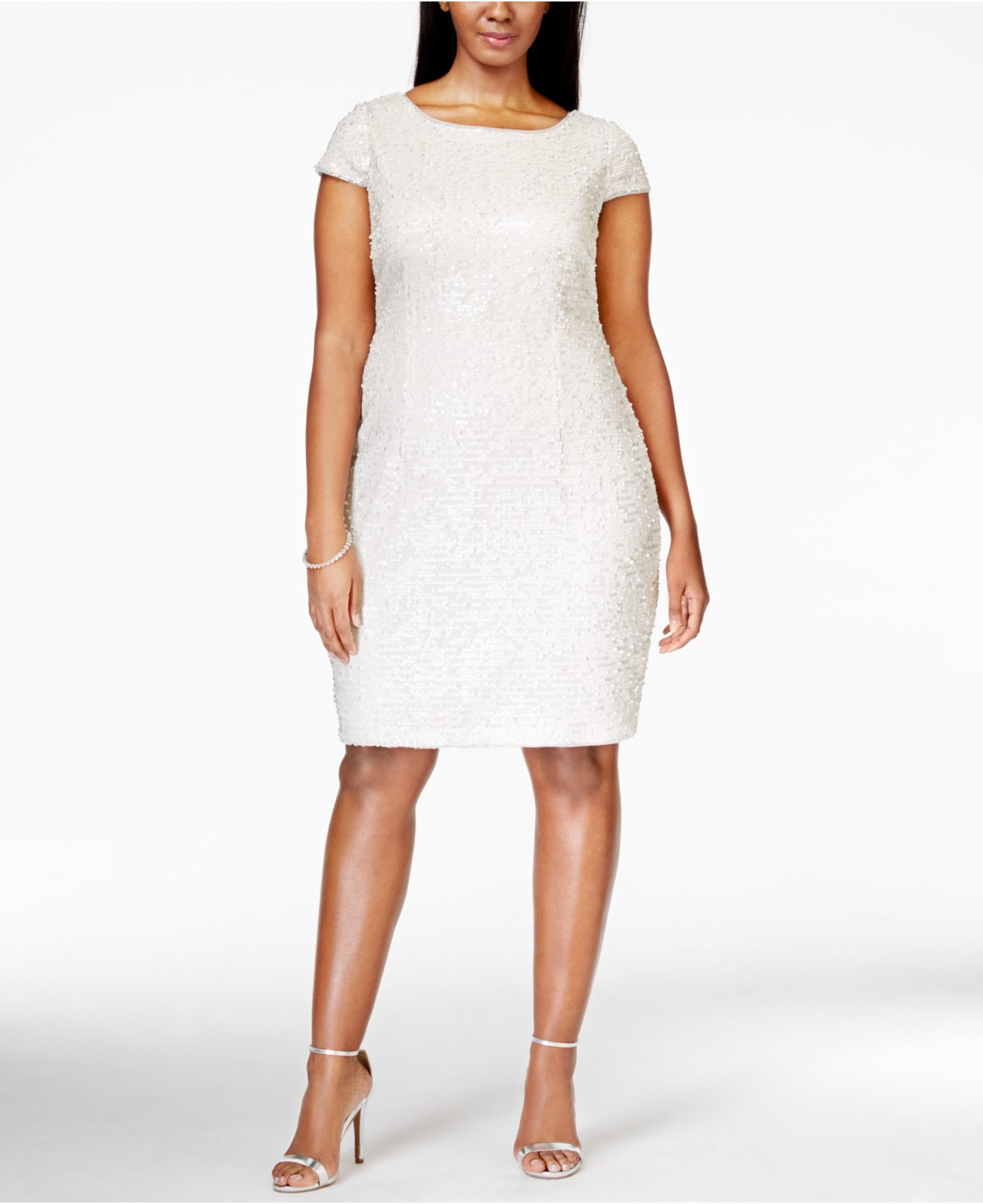 Adrianna Papell Plus Size Short-sleeve Sequin Dress in White - Lyst