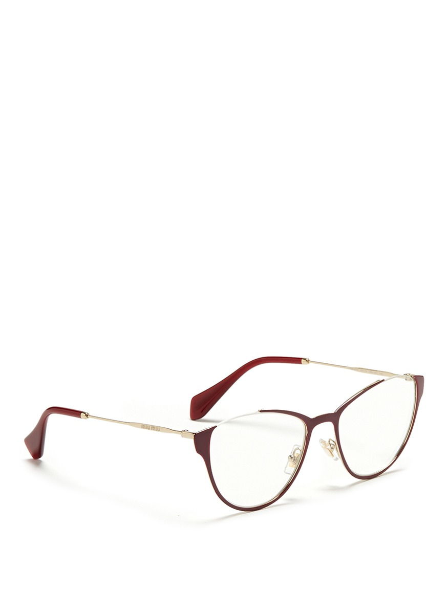 Red Rimless Glasses : Miu miu Semi Rimless Coated Metal Optical Glasses in Red ...