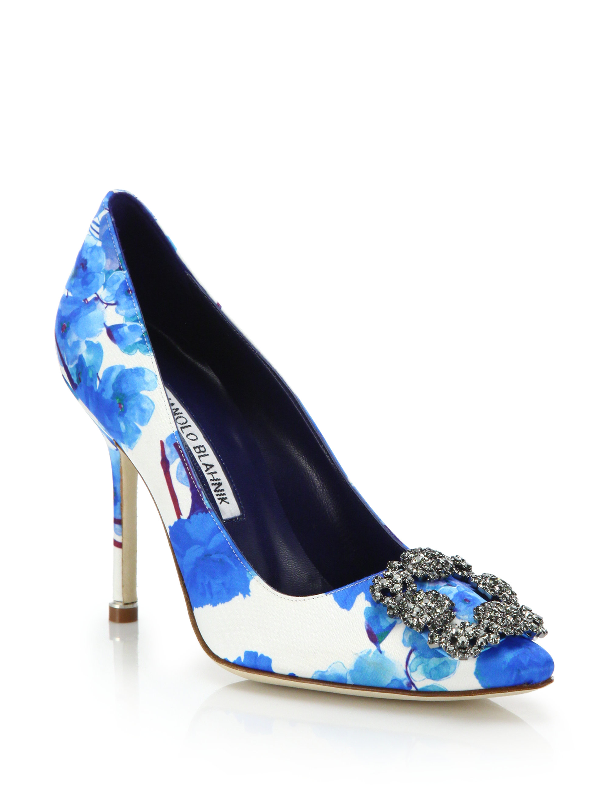 9f3e8a044141 Lyst - Manolo Blahnik Hangisi Floral-print Pumps in Blue