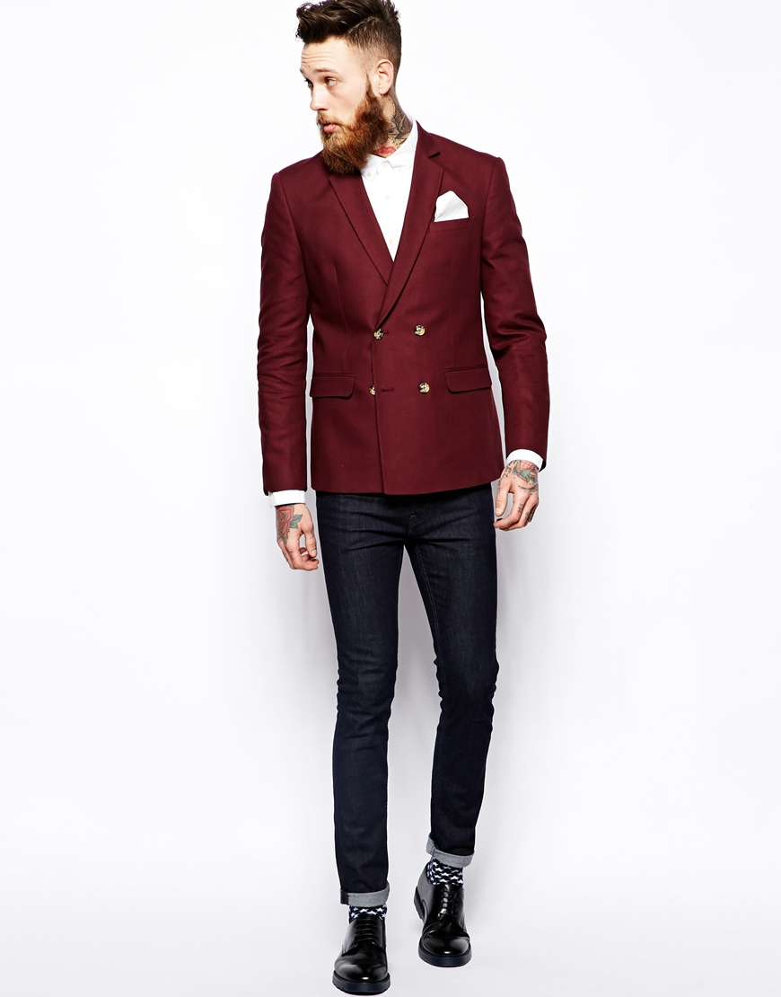 Asos Slim Fit Double Breasted Blazer In Cotton in Red for Men | Lyst