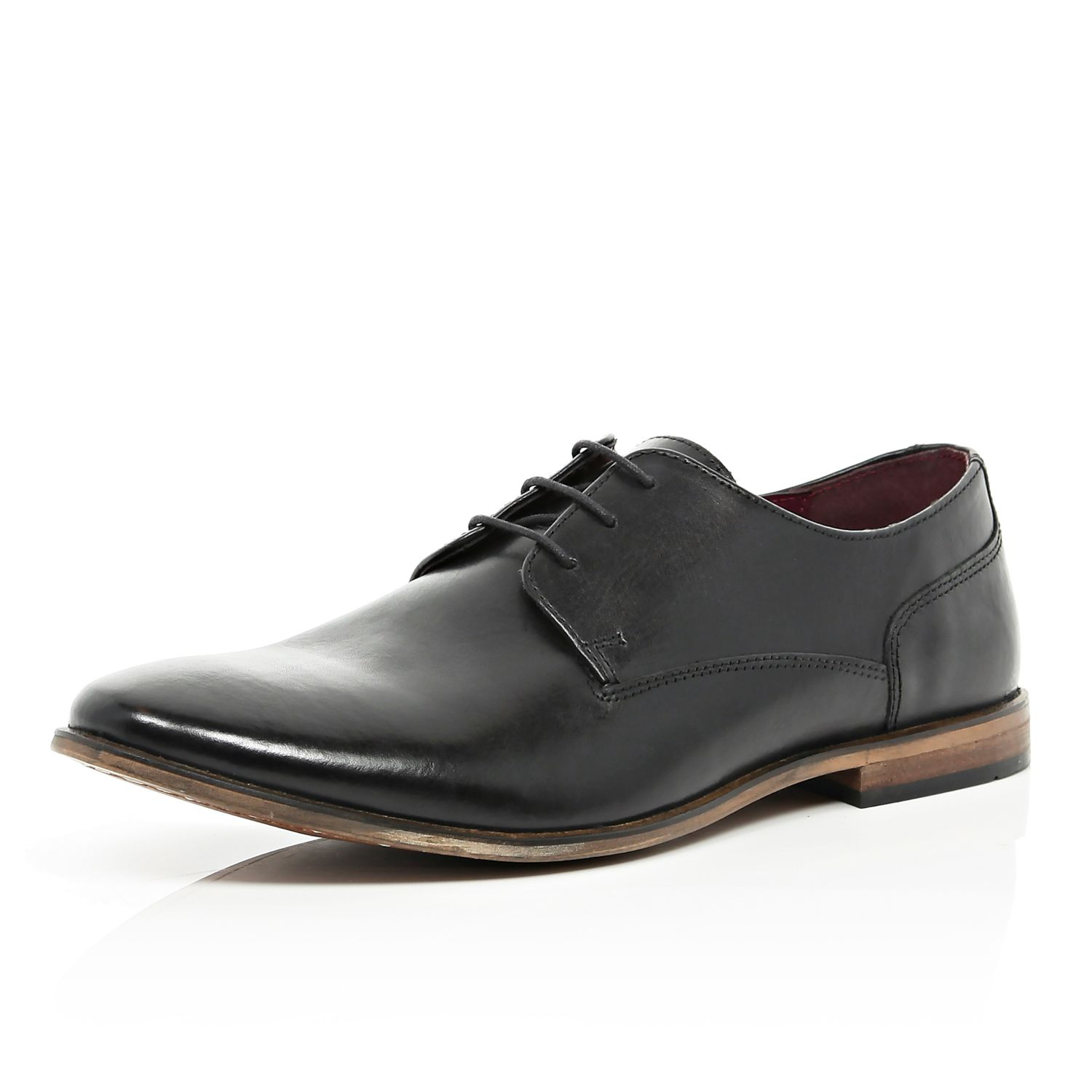 river island black lace up formal shoes in black for