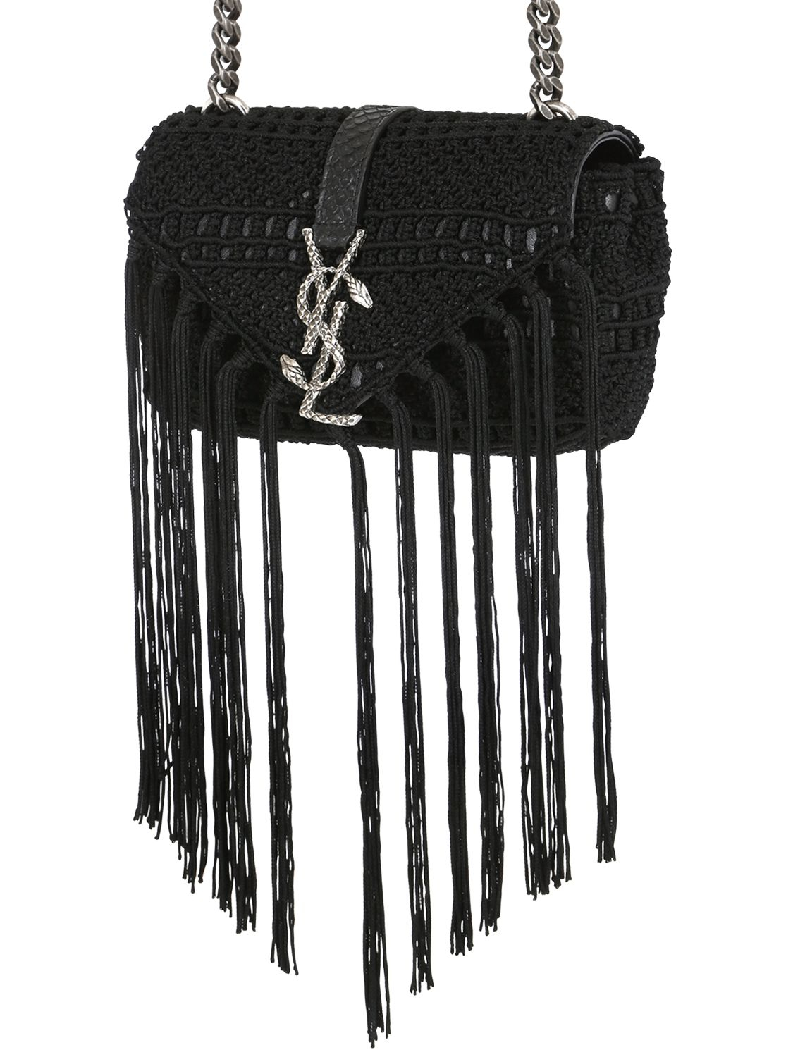 Monogram Crochet Fringe Clutch Bag, White