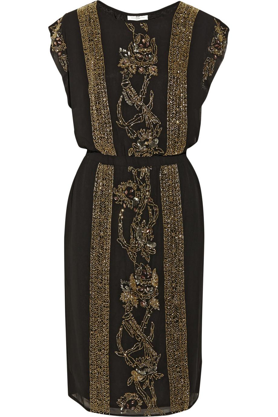 lyst day birger et mikkelsen night goldie embellished crepe dress in black. Black Bedroom Furniture Sets. Home Design Ideas