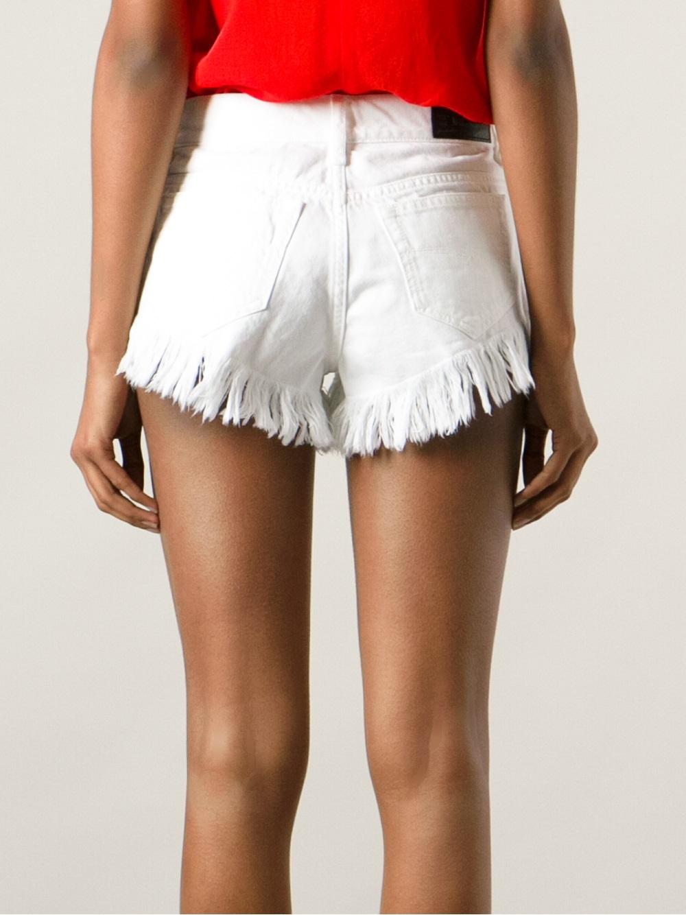 Diesel Frayed Denim Shorts in White | Lyst