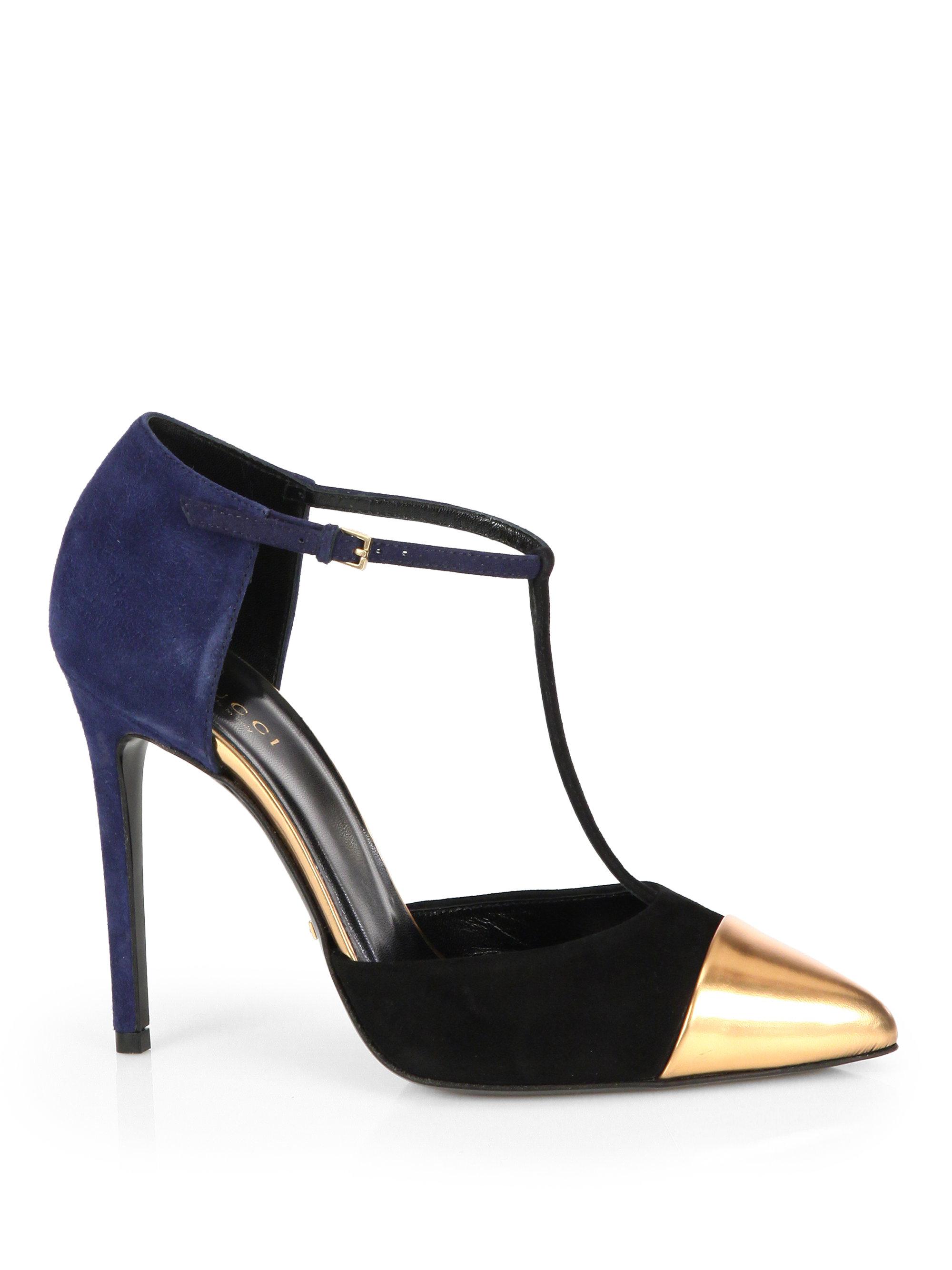 gucci coline suede leather t strap pumps in blue lyst. Black Bedroom Furniture Sets. Home Design Ideas