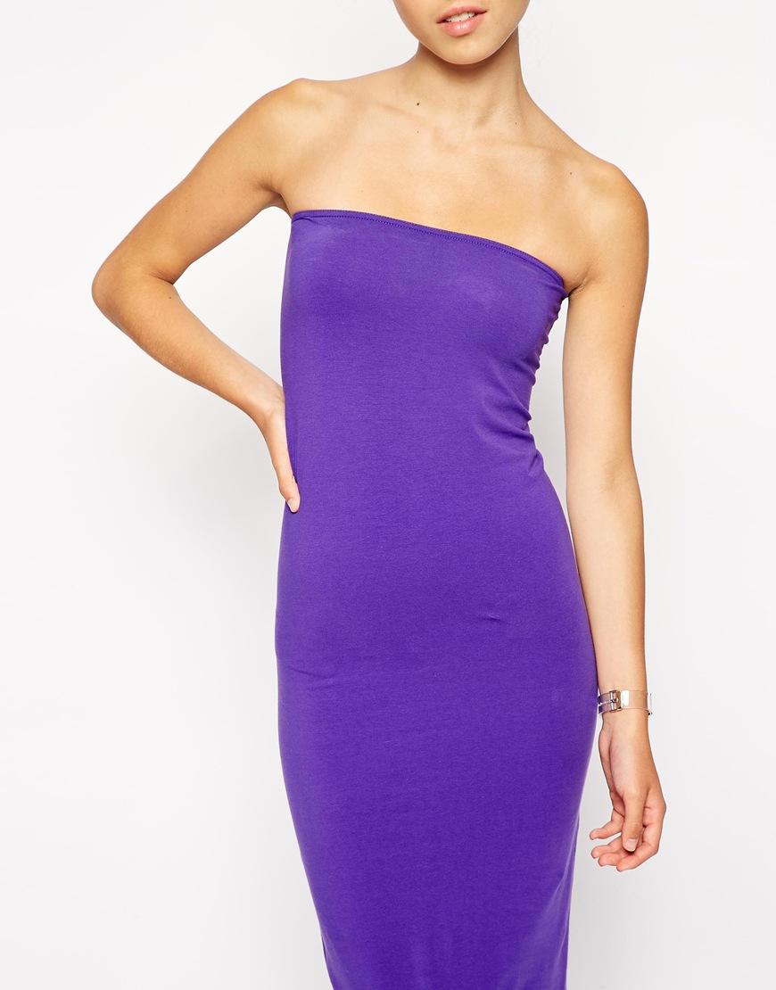 d7004e90b73 Lyst - American Apparel Jersey Tube Maxi Dress in Purple