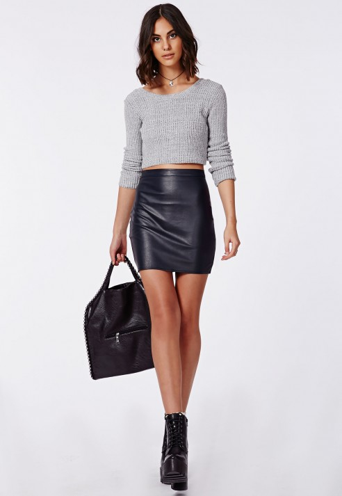 Navy blue faux leather skirt – Modern skirts blog for you
