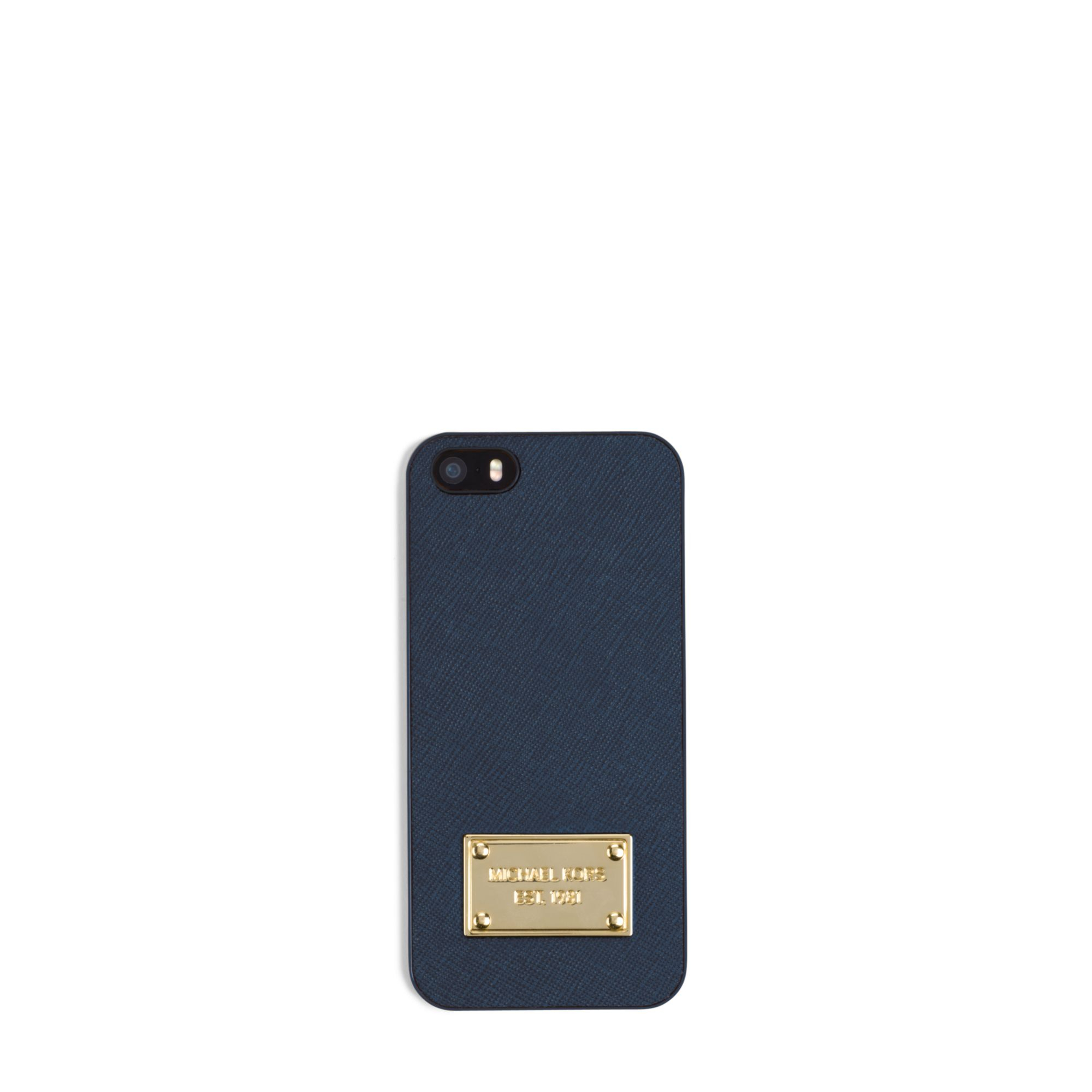 purchase cheap 8d6ef 8b705 Michael Kors Saffiano Leather Phone Case For Iphone 5 in Blue for ...