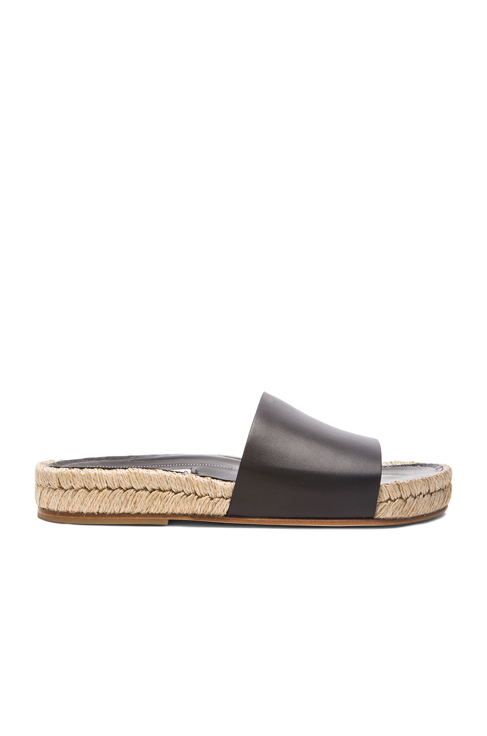 Balenciaga Box Leather Slide Sandals In Black Lyst