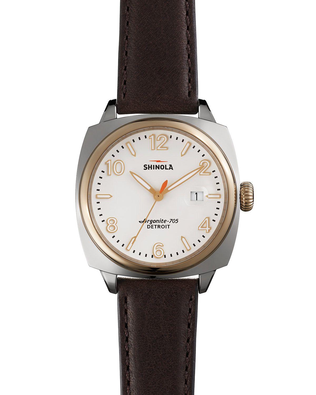 Shinola the brakeman watch 40mm in brown dark brown two tone lyst for Shinola watches