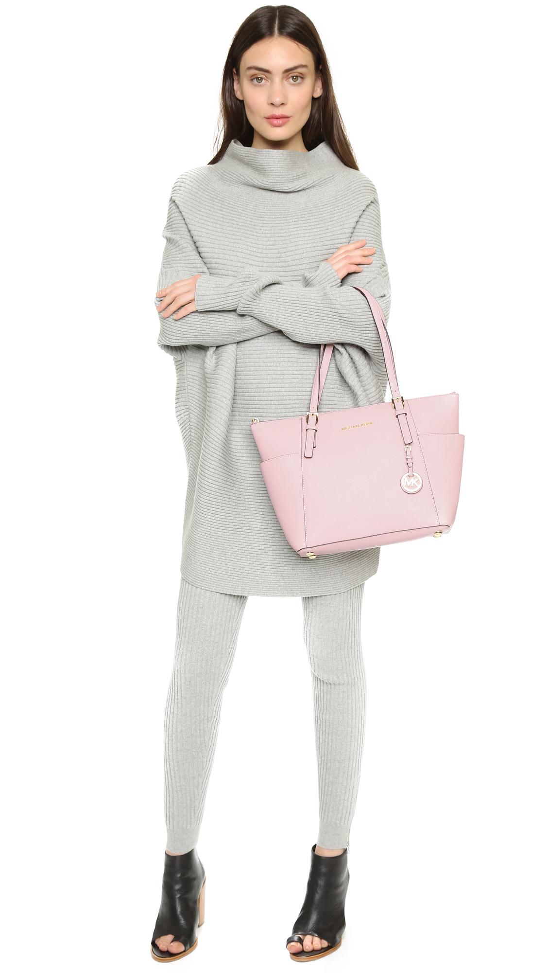 ffae04c1cad Lyst - MICHAEL Michael Kors Jet Set Top-zip Saffiano Tote Bag in Pink