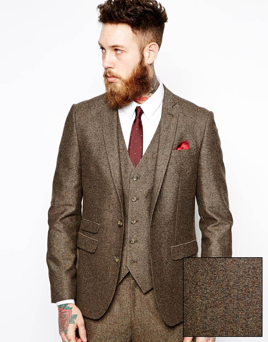 Asos Slim Fit Suit Jacket In Herringbone in Brown for Men | Lyst
