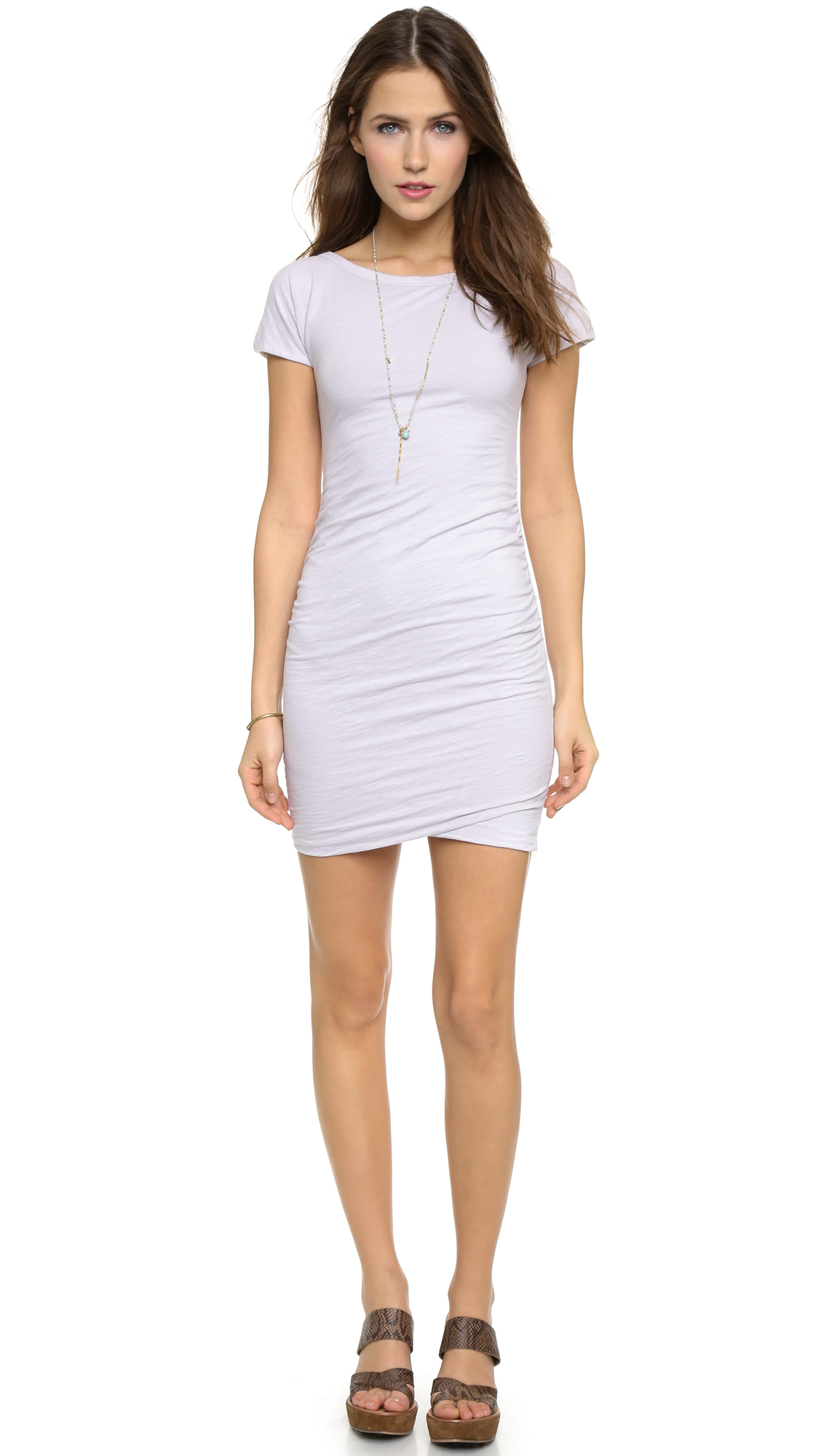 bdadc29ac61cd Lyst - Sundry Boat Neck Ruched Dress - Grey in Gray