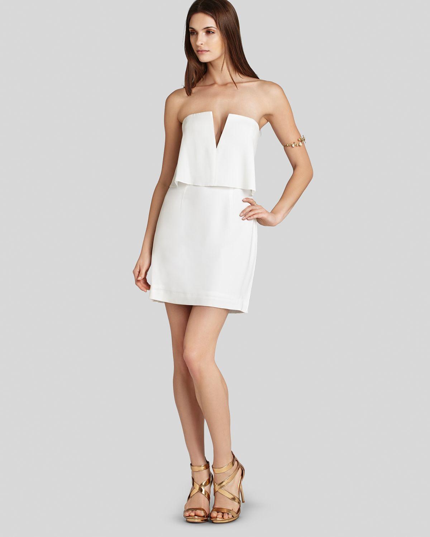 Bcbgmaxazria dress kate strapless blouson in white lyst