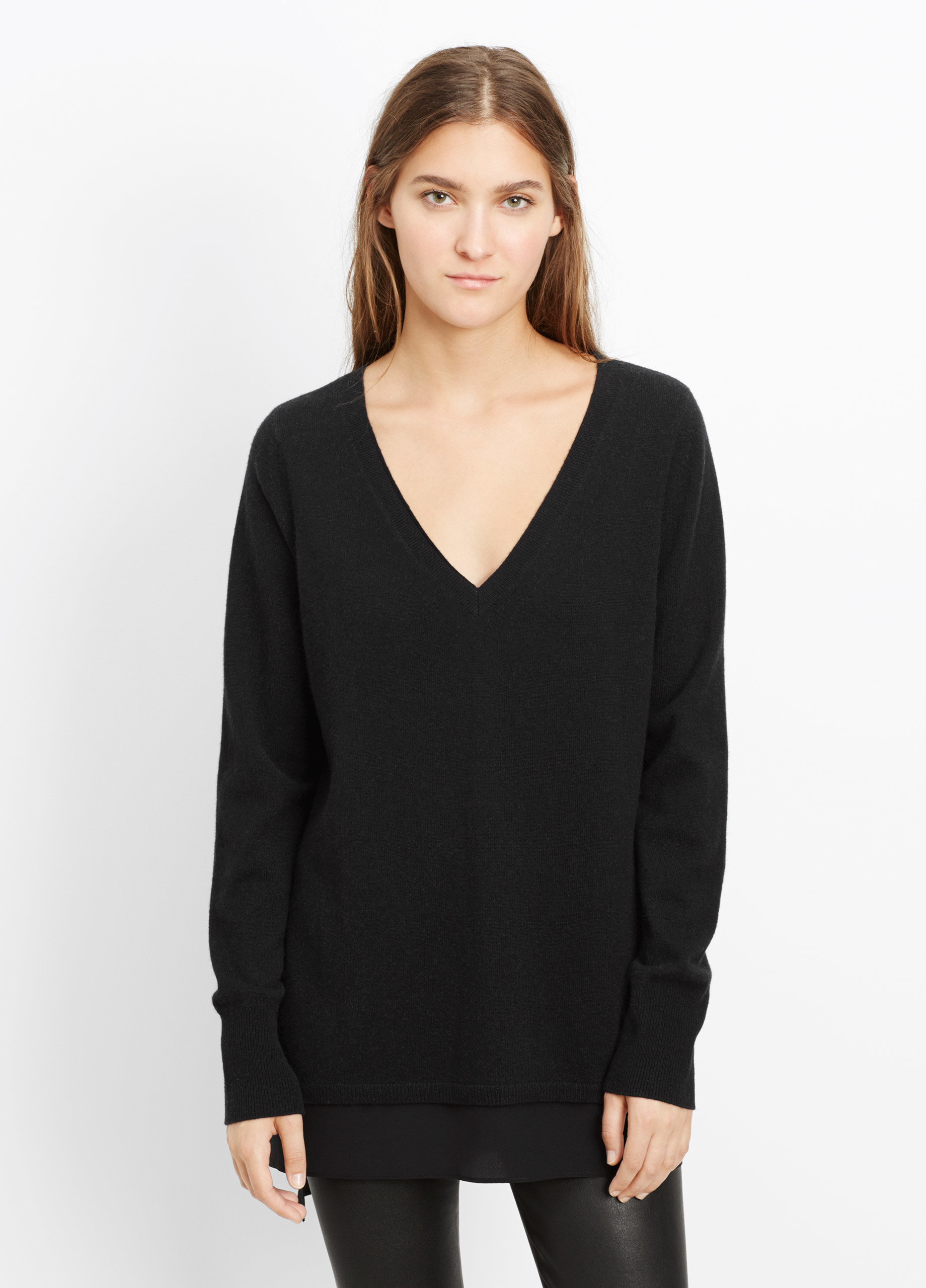 Vince Wool Cashmere V-neck Sweater With Silk Contrast in Black | Lyst