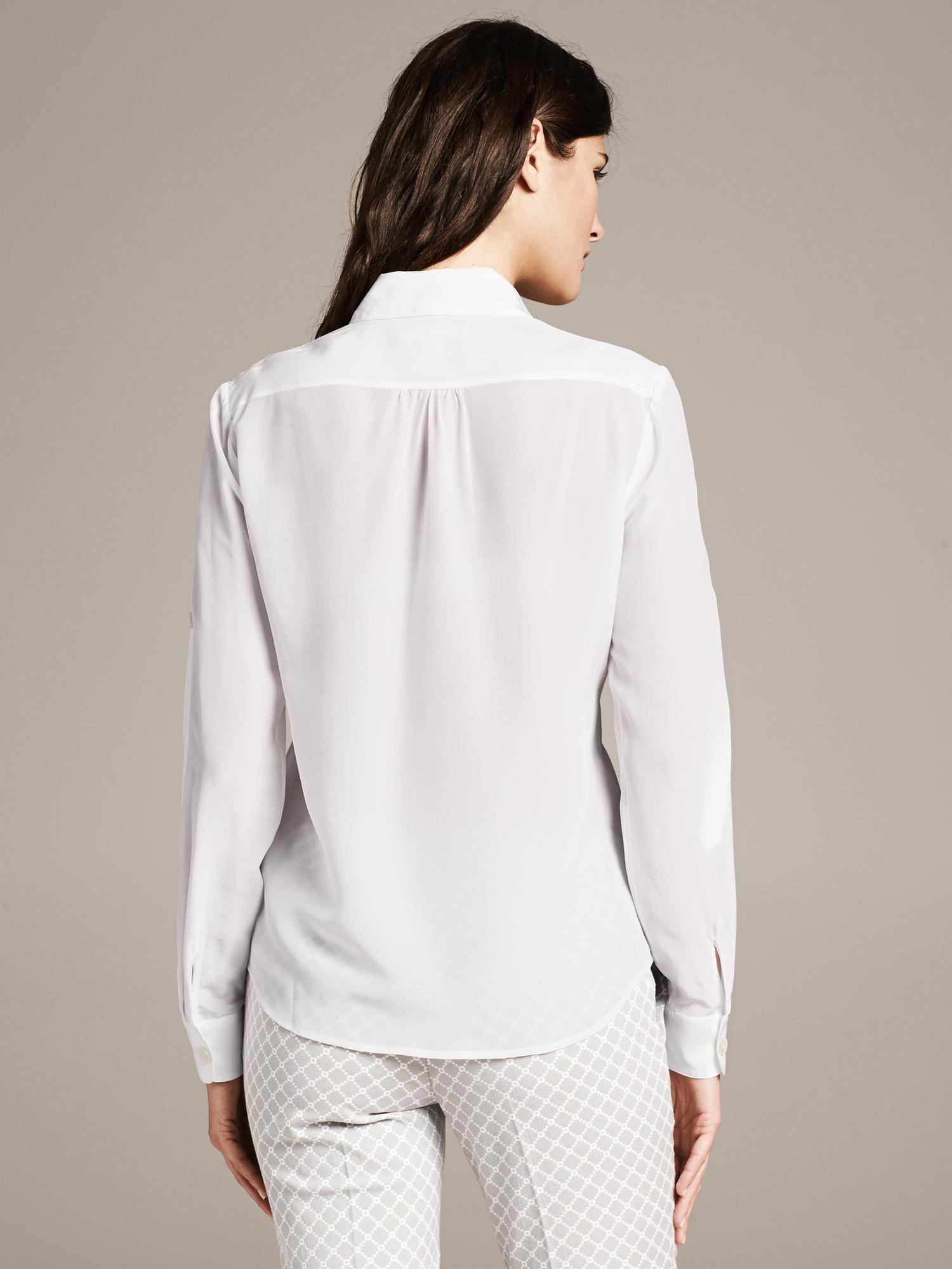 4522cc9555531 Lyst - Banana Republic White Silk Utility Blouse in White