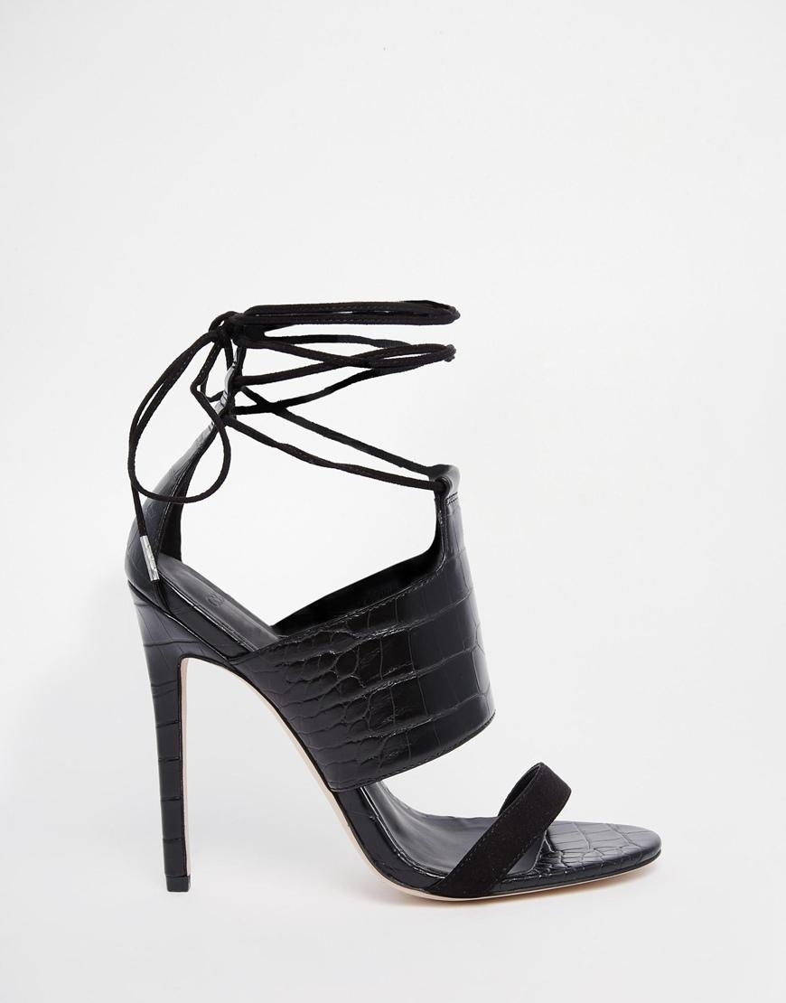 4ba6da81bd8 Lyst - ASOS Hendricks Lace Up Heeled Sandals in Black