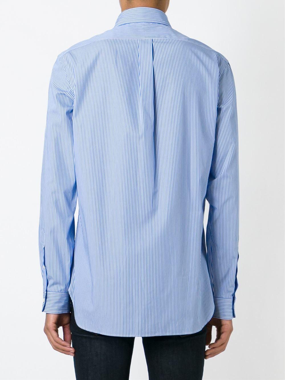 Polo ralph lauren classic embossed logo shirt in blue for for Ralph lauren logo shirt