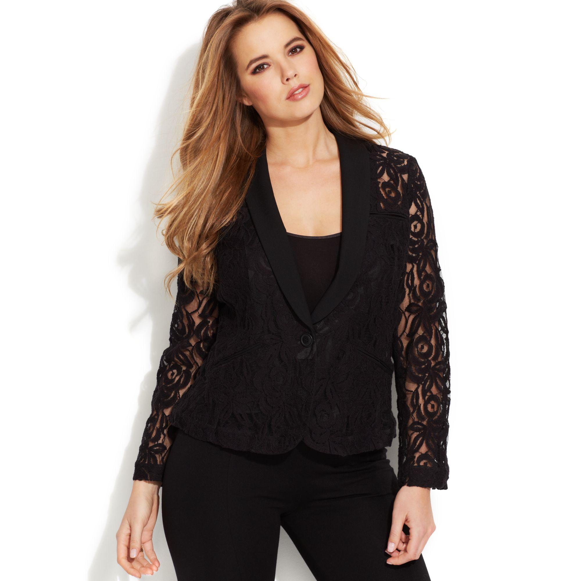 f7ea3124b6d INC International Concepts Plus Size Lace Blazer in Black - Lyst