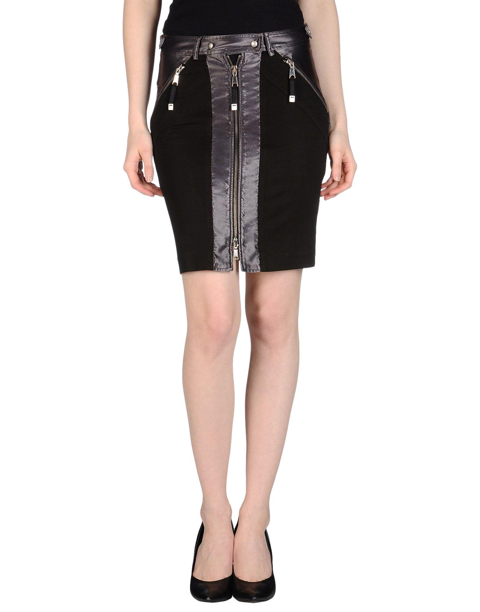 richmond denim knee length skirt in black lyst