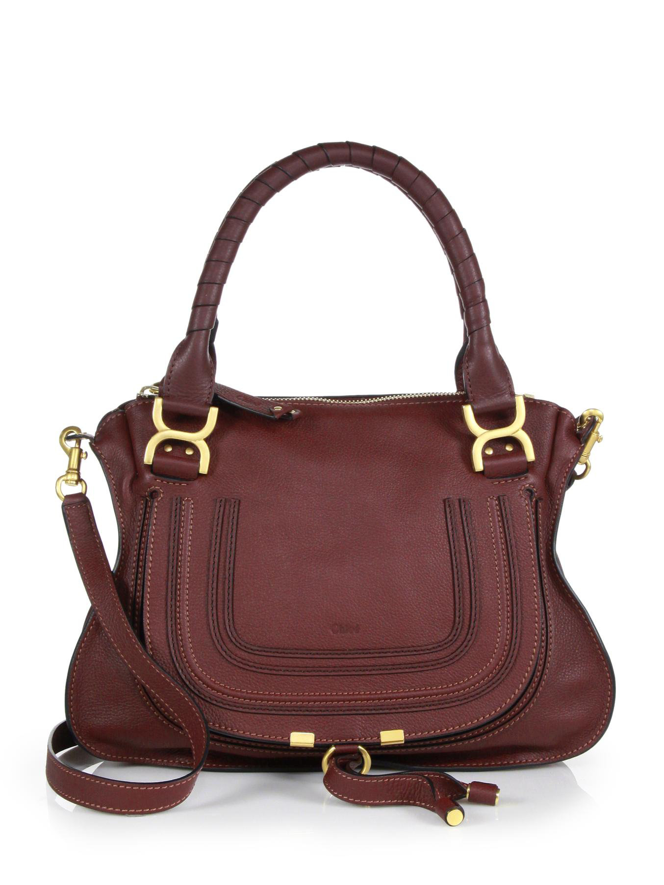 chlo marcie medium leather satchel in red lyst. Black Bedroom Furniture Sets. Home Design Ideas