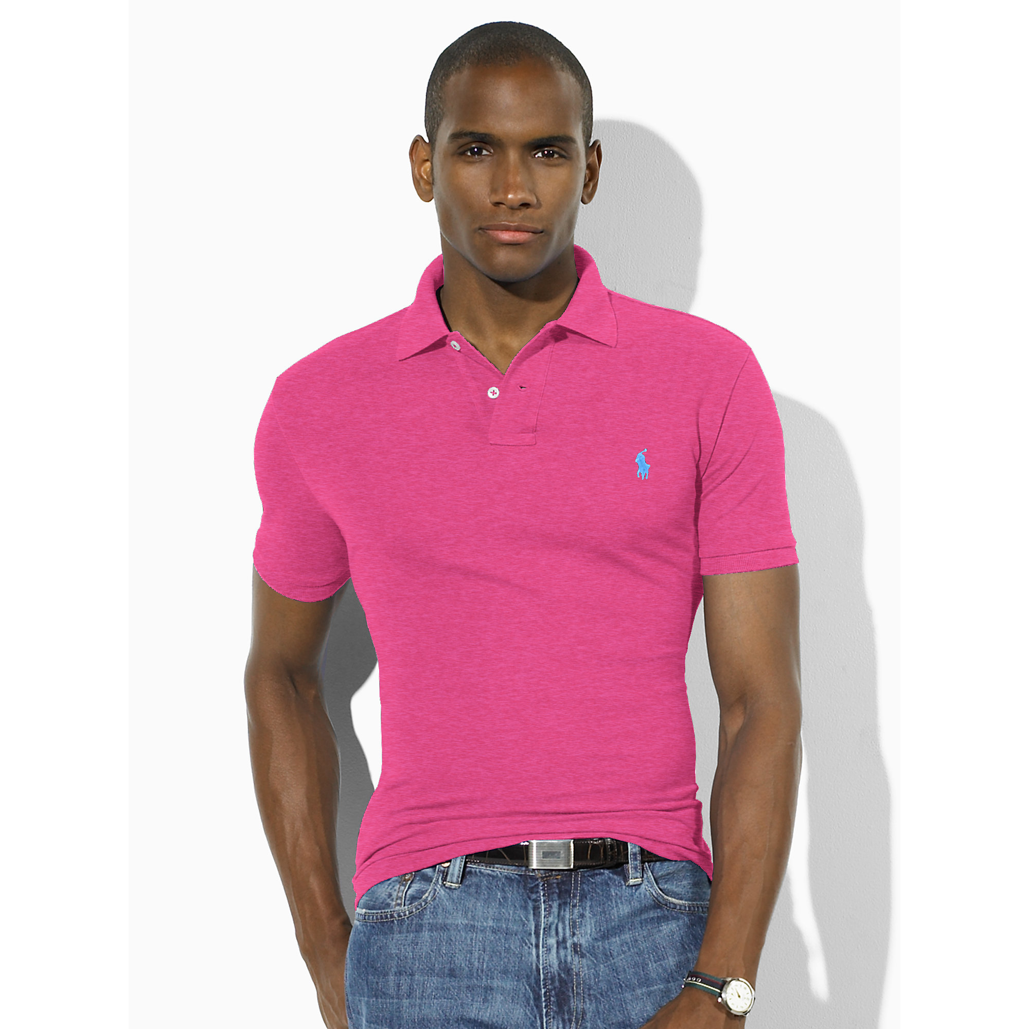 Polo ralph lauren slim fit mesh polo shirt in pink for men for Mens slim polo shirts