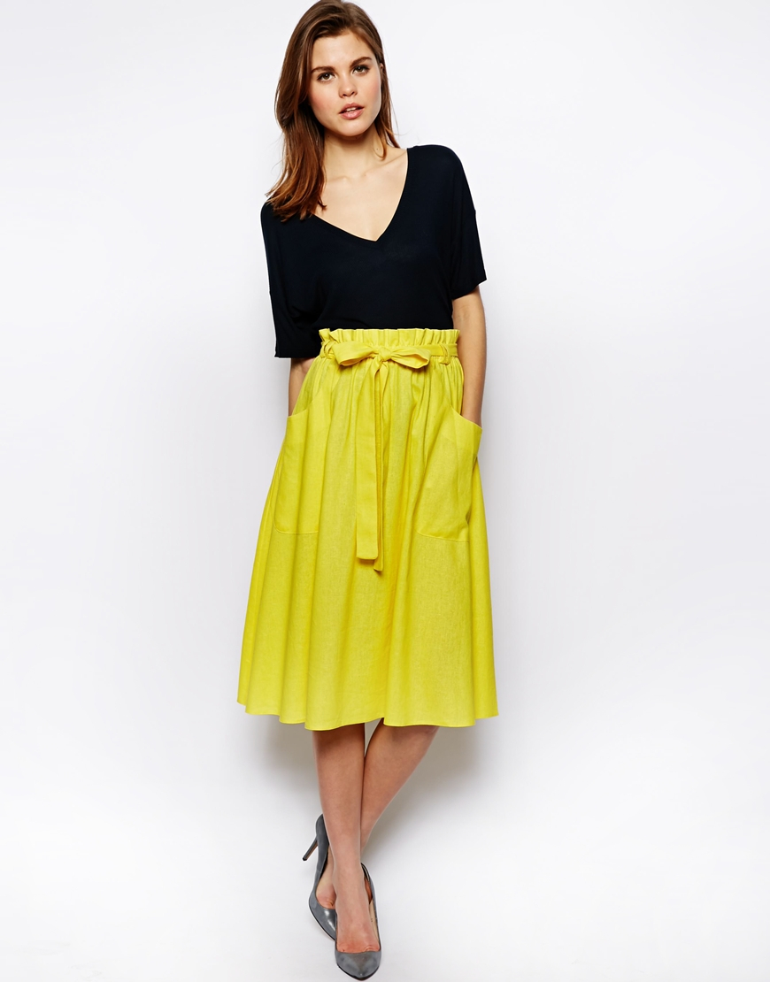 Asos Linen Midi Skirt with Pocket Detail in Yellow | Lyst