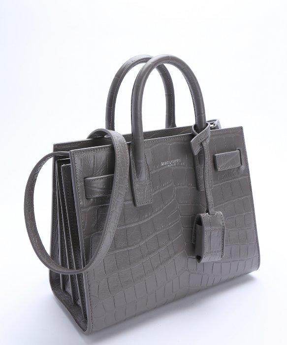 Embossed Fog Croc Leather Jour Nano Laurent Saint  sac De qtn5BI bf62873243b02