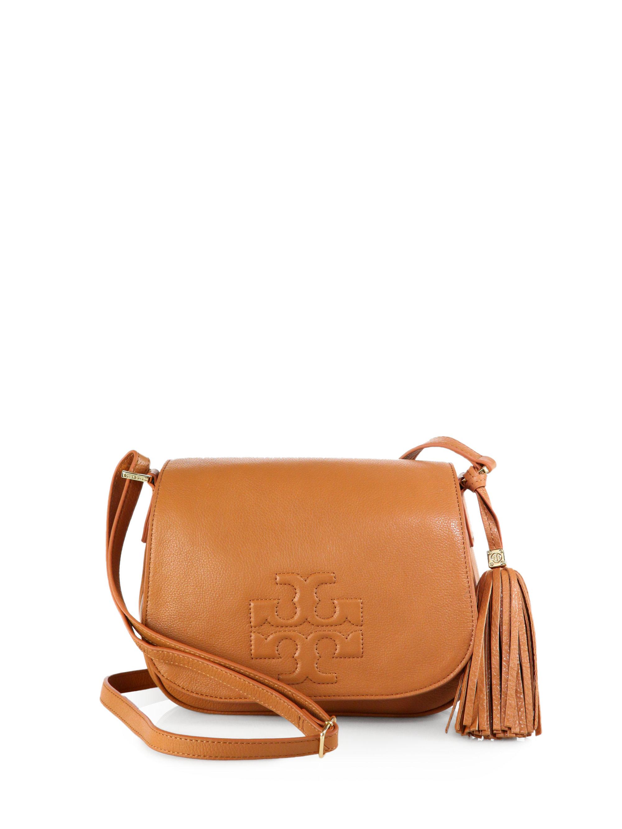 ed9fec69639a Lyst - Tory Burch Thea Leather Fringe Crossbody Bag in Black