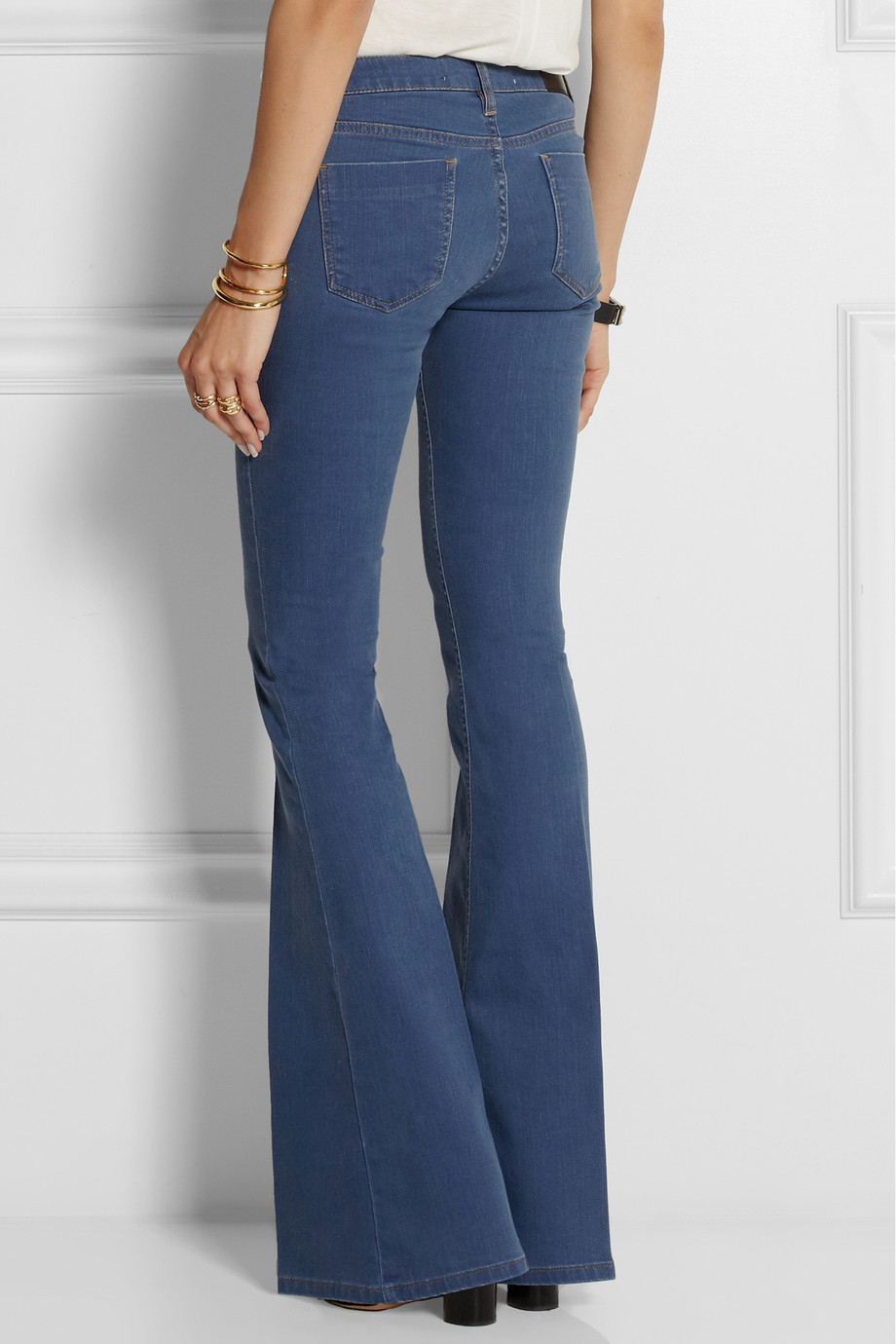 Lyst Victoria Beckham Flare High Rise Jeans In Blue