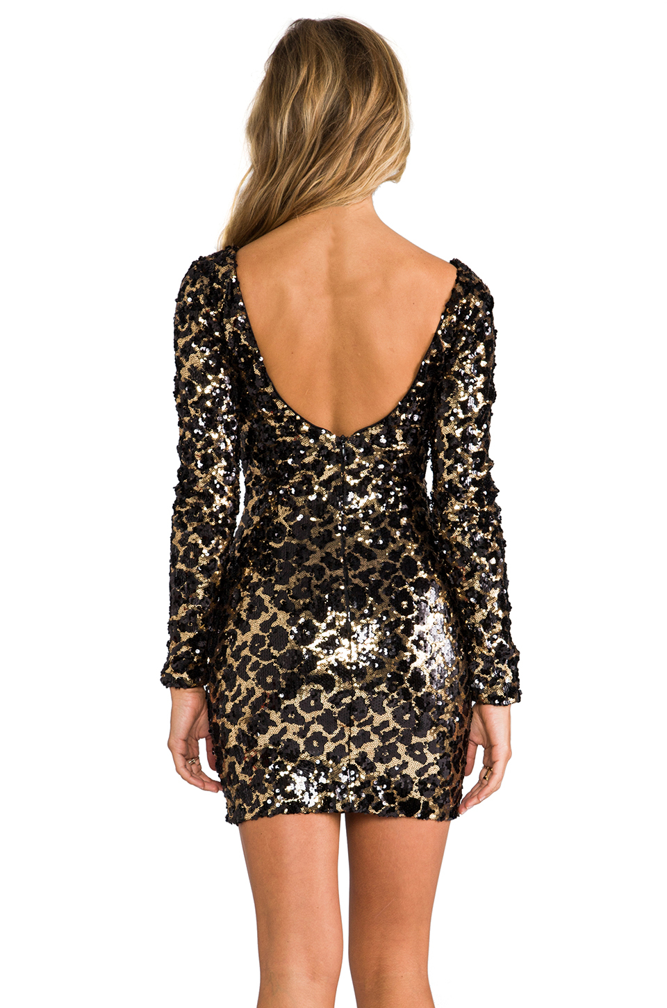 Gold sequin long sleeve dress - 863.0KB