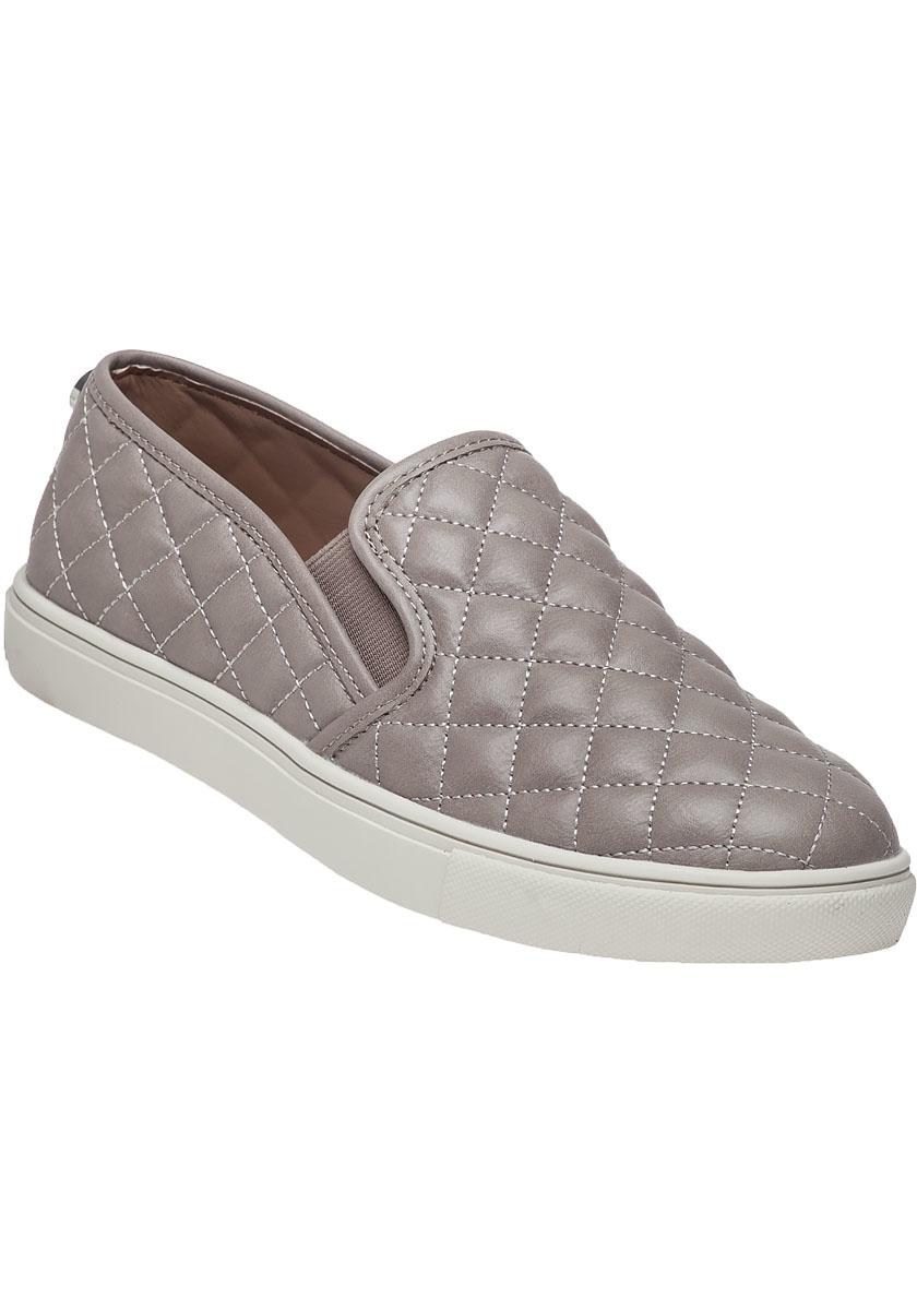 steve madden ecentrcq grey quilted slip on sneaker in gray