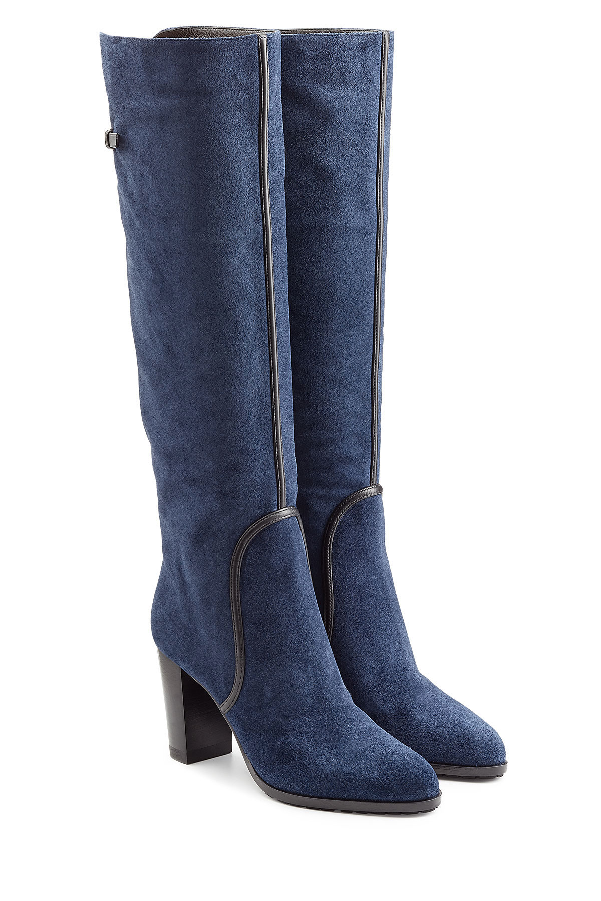 Sergio Rossi Suede Knee Boots Blue In Blue Lyst