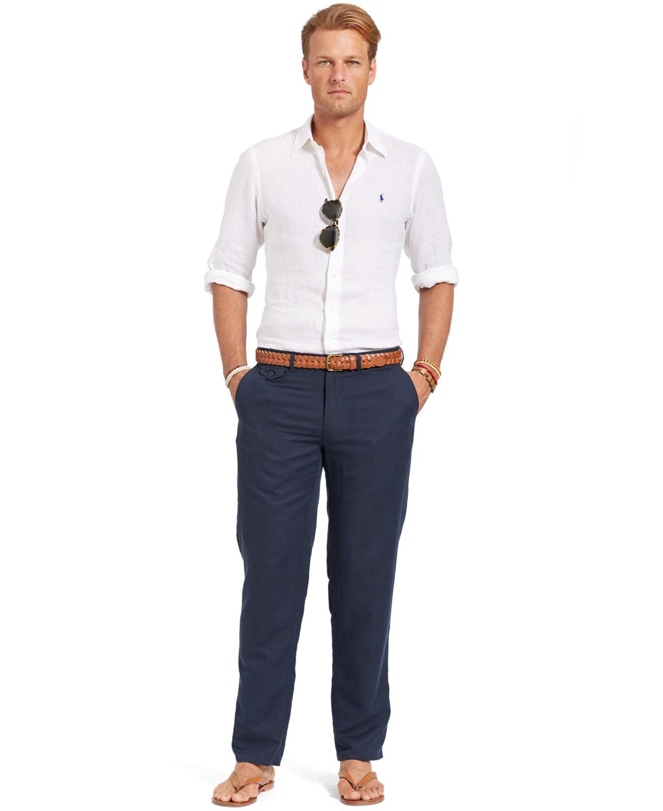 Polo Ralph Lauren Big And Tall Linen Cotton Blend Cargo