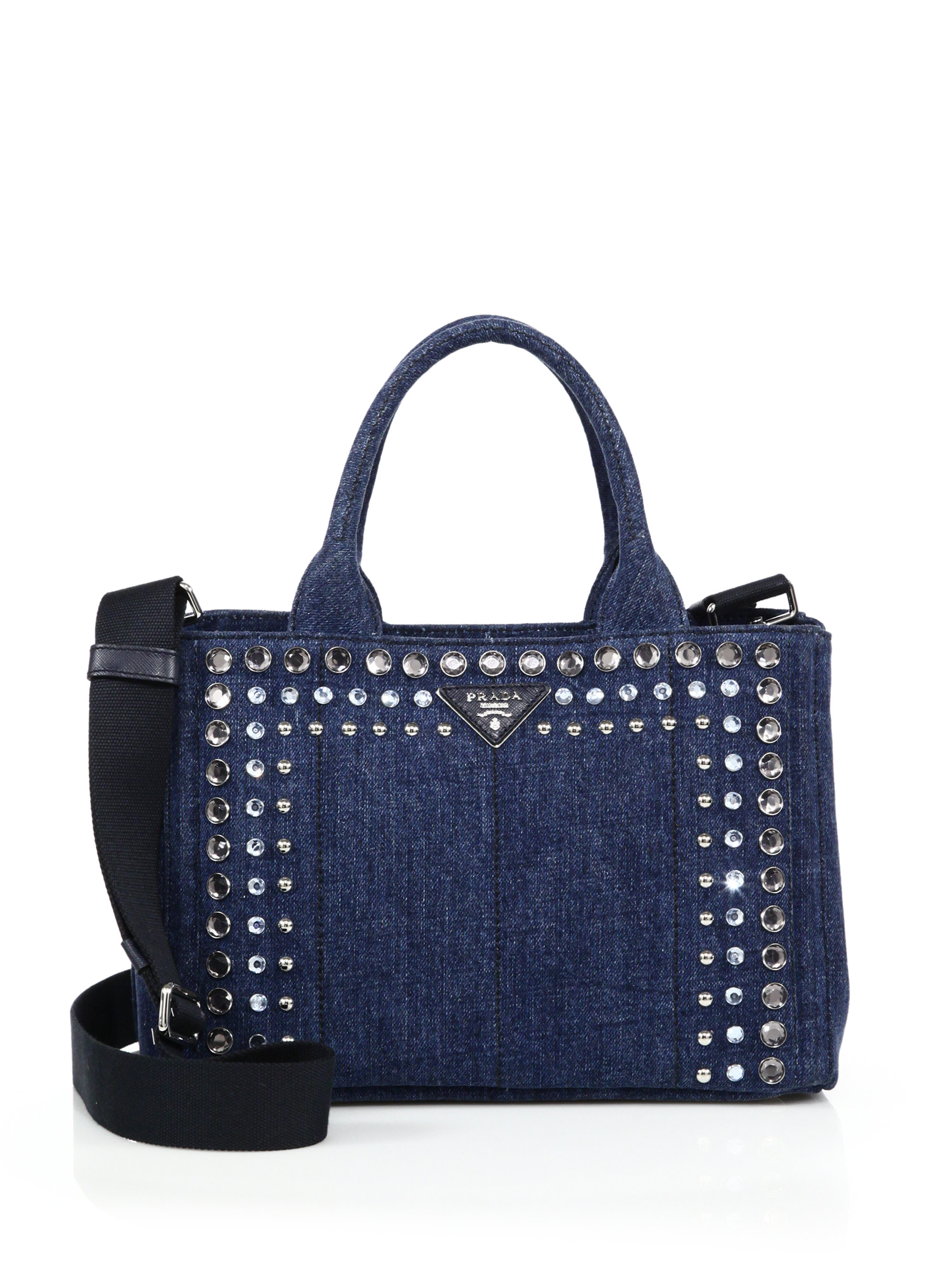 ceebde6dee7d ... clearance lyst prada crystal embellished denim tote in blue 05598 28315