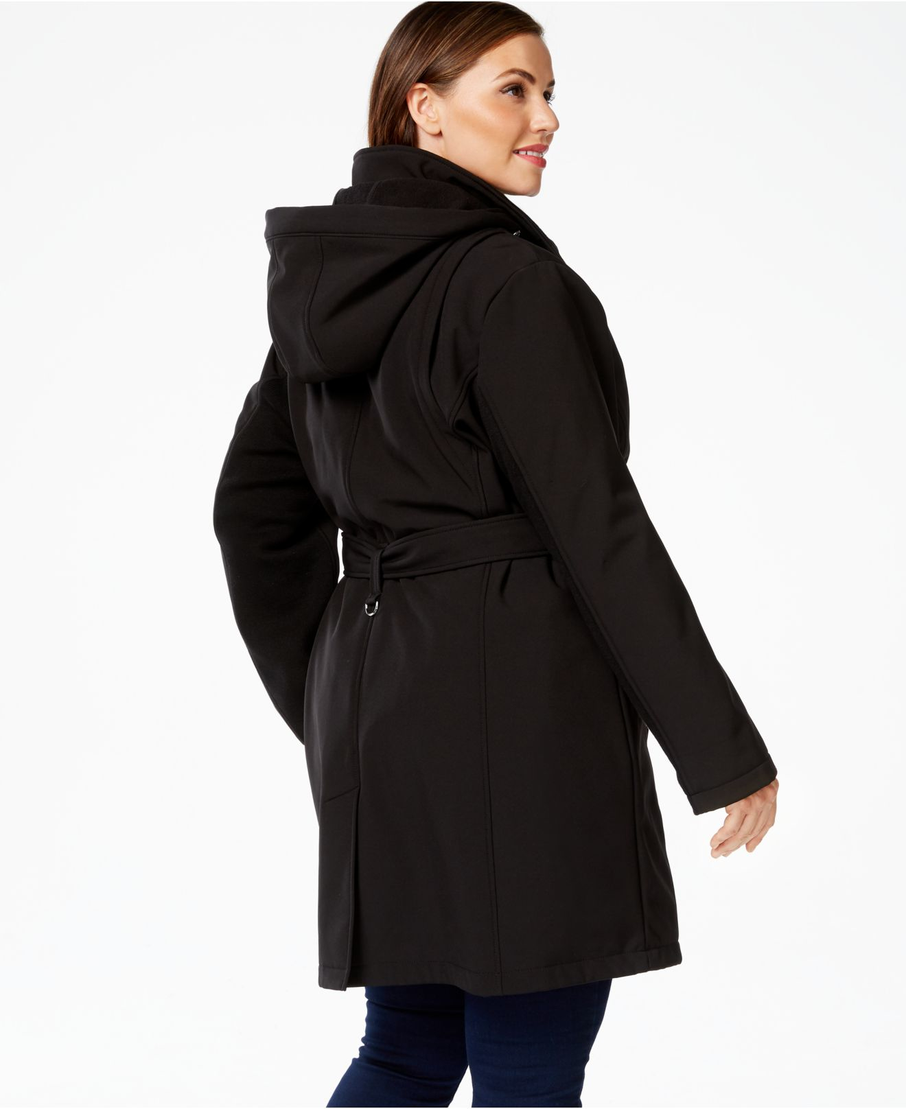 d8b847aade4 Lyst - Calvin Klein Plus Size Double-breasted Softshell Coat in Black