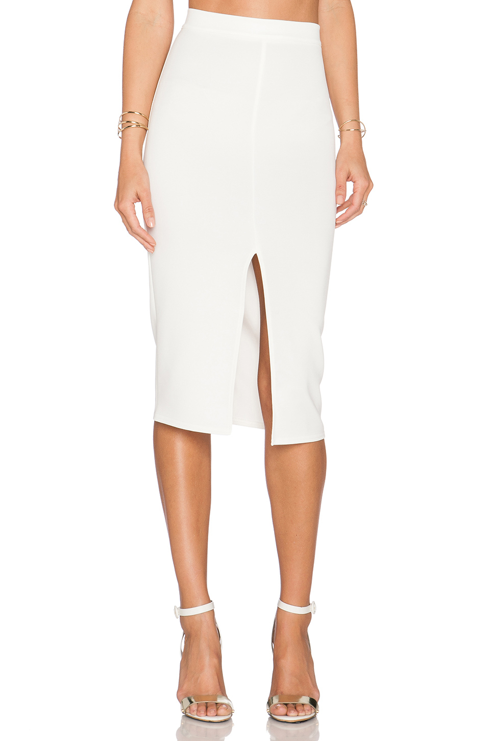 bodycon pencil skirt in white lyst