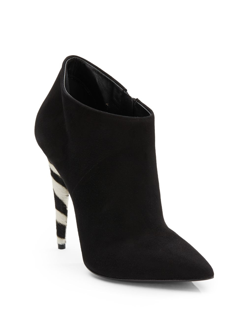 giuseppe zanotti calfhair accented suede ankle boots in
