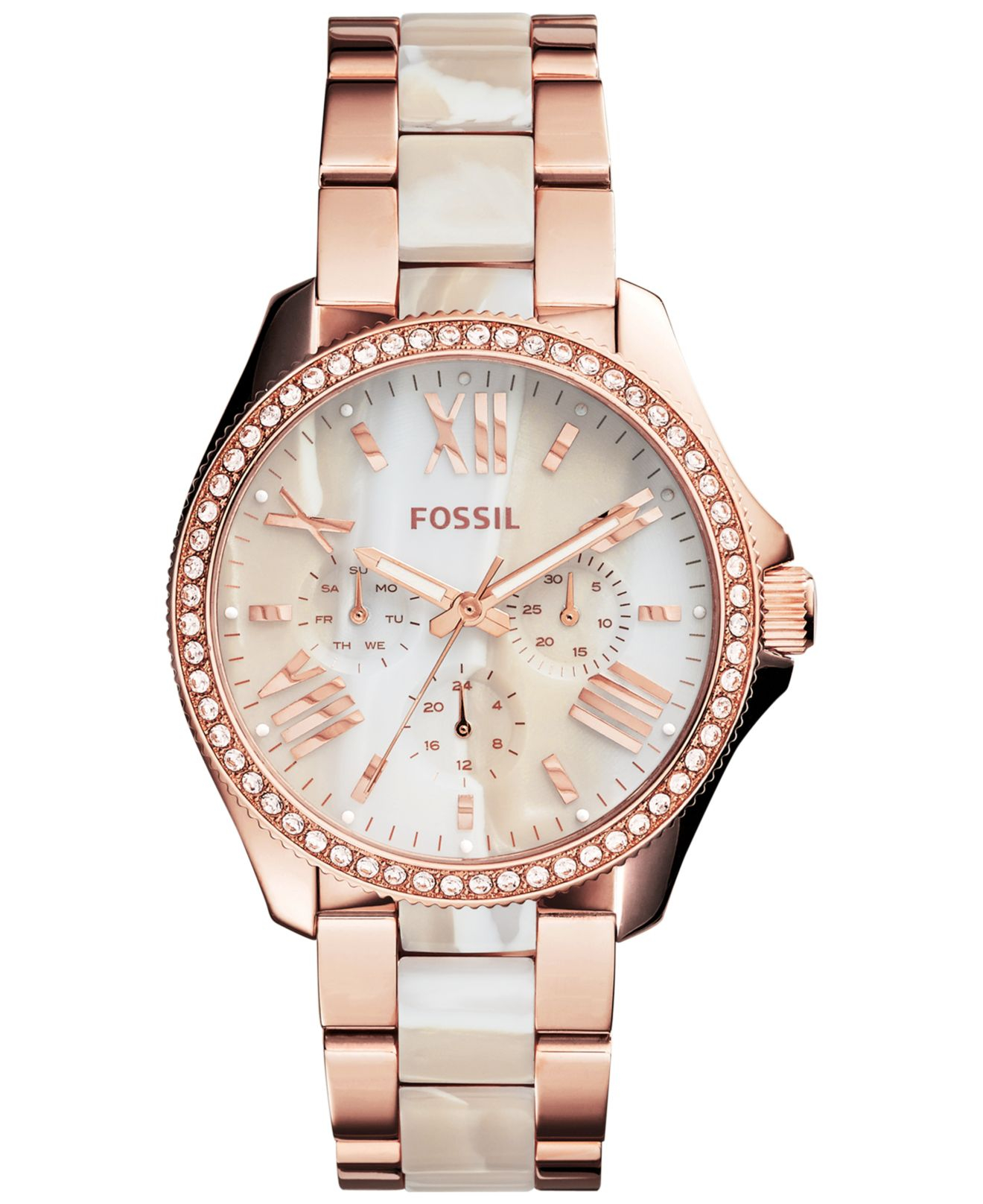 fossil women 39 s chronograph cecile shimmer horn and rose gold tone stainless steel bracelet watch. Black Bedroom Furniture Sets. Home Design Ideas