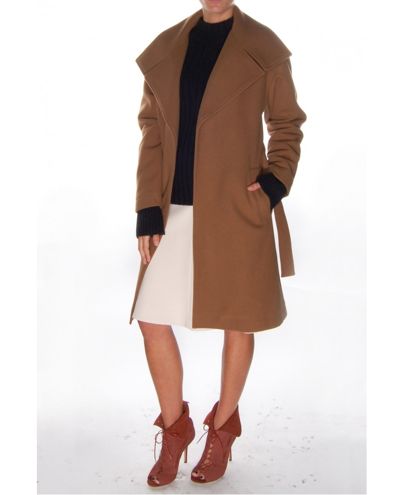 Closed Virgin Wool Coat With Belt in Brown | Lyst