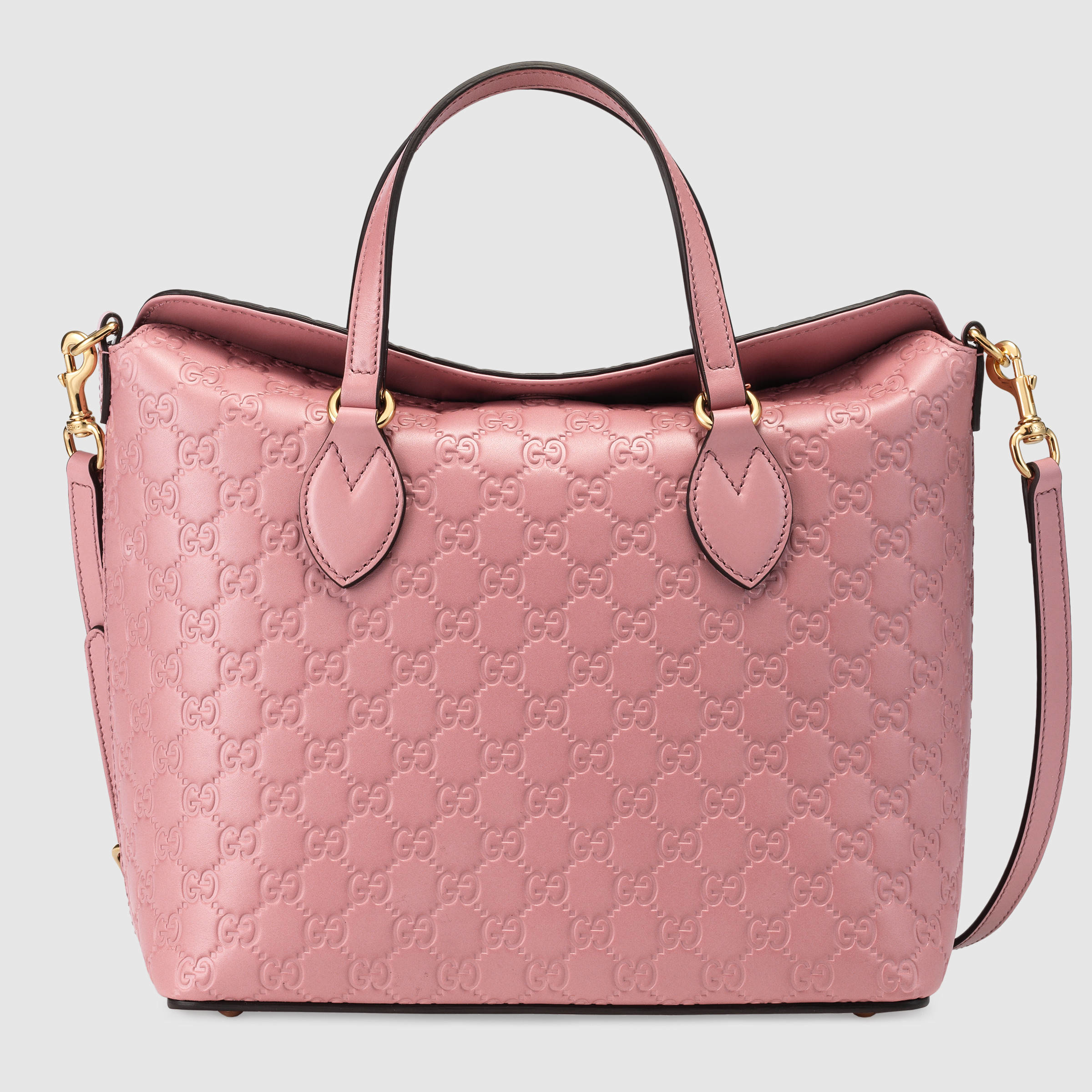 Gucci Signature Leather Top Handle Bag in Pink | Lyst