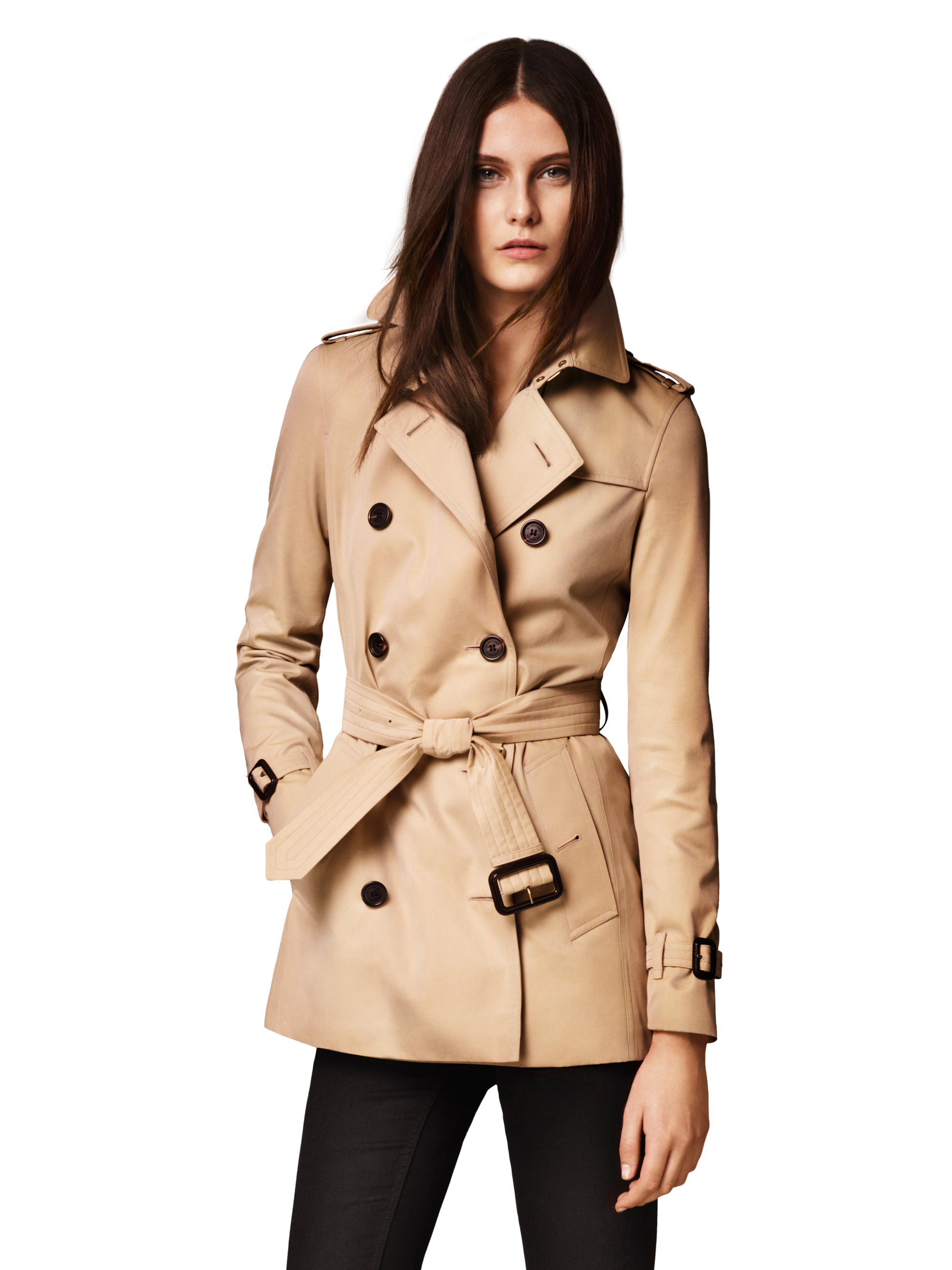 Burberry Kensington Short Heritage Trench Coat In Natural