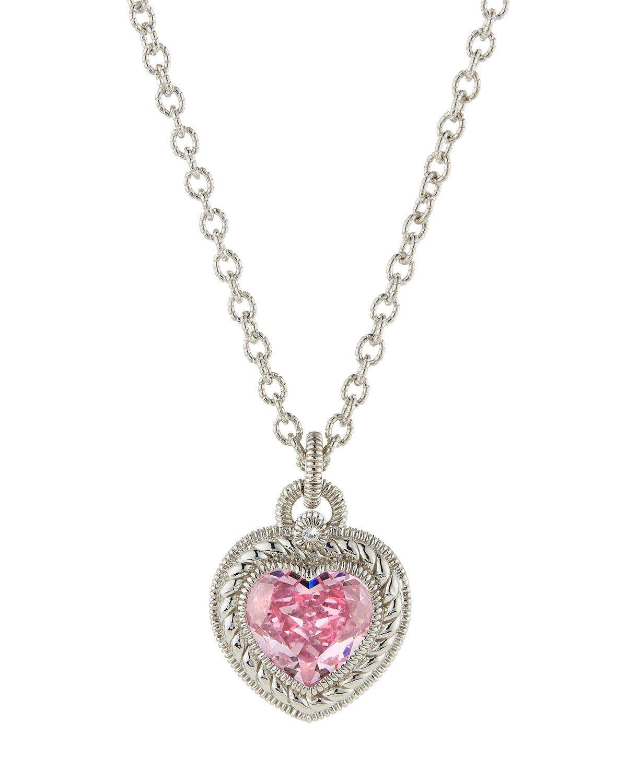 Lyst judith ripka pink crystal heart pendant necklace in metallic gallery aloadofball Images