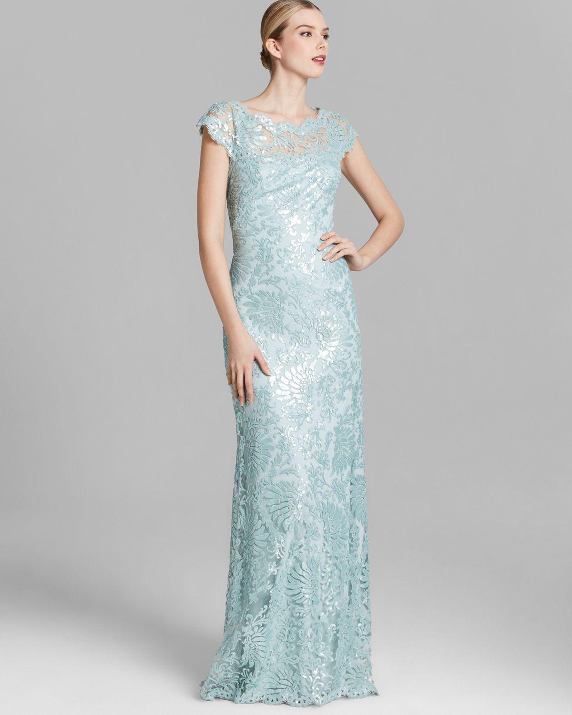 e4b51c990b524c Tadashi Shoji Shoji Gown Cap Sleeve Illusion Neckline Sequin Lace in ...