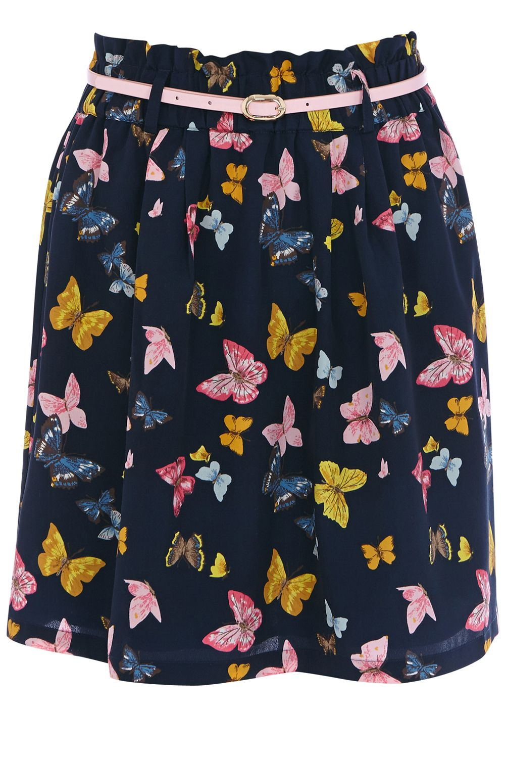 oasis butterfly print paper bag skirt in blue lyst