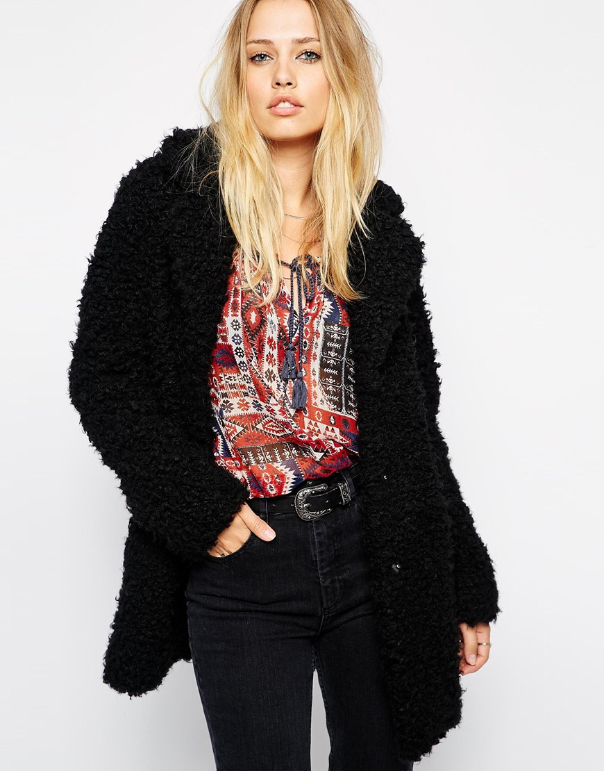 Pepe jeans Faux Fluffy Coat in Black | Lyst