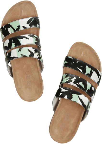 Kenzo Palm Tree Print Leather Wedge Sandals In Black Lyst
