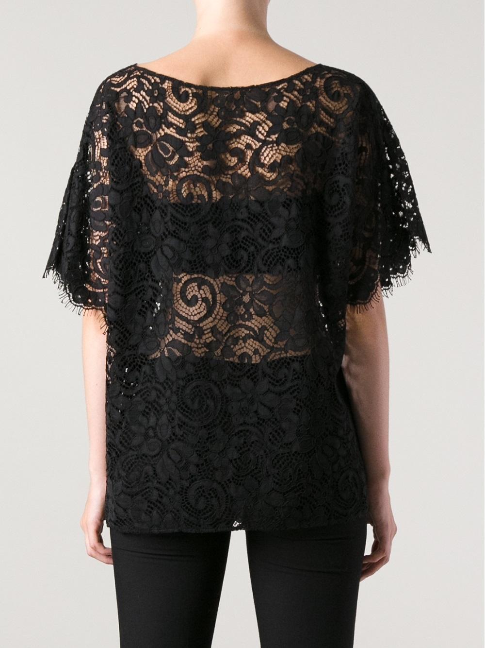 Dolce gabbana short sleeve lace tshirt in black lyst for Dolce gabbana t shirt women
